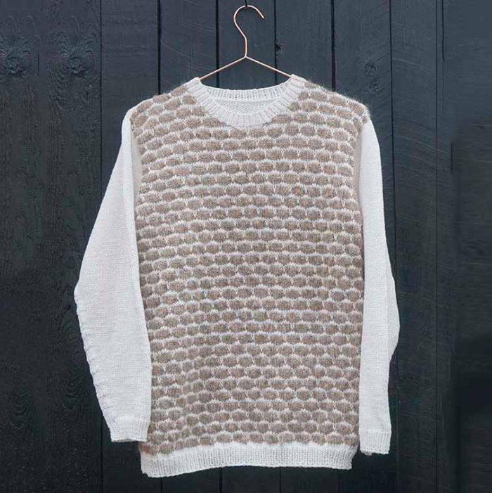 Boble trøje let øvet strikkeopskrift og kit fra Knit Wit Company