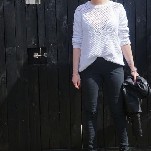 Net sweater strikkeopskrift i bomuldsblend - Knit Wit Company